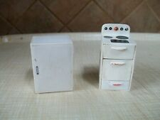 vintage white plastic fridge and cooker dolls house furniture a