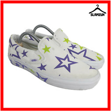 Vans Trainers Womens White Star Classic Slip On Size US 10 Skater Off The Wall