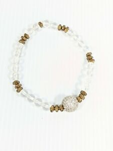 Artisan Gold Tone Brass? Faceted Glass Bead Pave Crystal Ball Stretch Bracelet