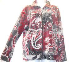 Nwot REBECCA MALONE red/gray velvet zipper cotton blend TOP JACKET XL Free shipp