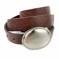 Vtg Womens Brown Floral Hand Tooled Leather Belt Briaded Silver Tone Buckle Boho
