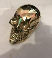 Brass Skull Solid Head Handle For Walking Stick Canes Shaft VINTAGE Designer