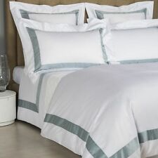 FRETTE BICOLORE WHITE SKY BLUE SHEET SET COTTON QUEEN BEDDING RETAIL $1195+tax