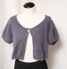 Gray Long Hairy 80% Angora Dusty Purple Fluffy Furry Fuzzy Sweater S