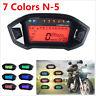 Motorcycle LCD Digital Speedometer Odometer Gauge 7 Colors Backlight N-5 Gear