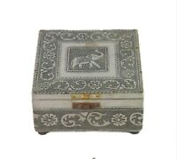 Vintage Indian Wooden Velvet Fitted Traditional Jewelry Box Home Décor i71-520