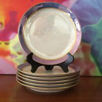 "hutschenreuther / Set Of Six 7 5/8"" Porcelain Lusterware Dessert Plates/ Bavaria"