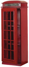 Vintage London Telephone Booth Cabinet Red Finish Storage Home Decor 95827