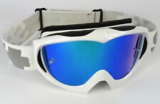 Spy Optics Targa 2 Alloy Motocross MX Gafas BLANCO con lentes espejados azules Nuevo