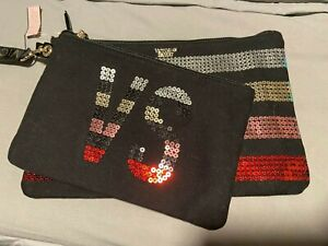 NWT Victoria's Secret Sparkle Glitter Make Up/Cosmetics Tote Clutch Set Sm/Lg