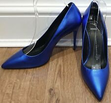 4f6cfdcd7a055 GIUSEPPE ZANOTTI DESIGN Blue Metallic Leather Pointed Toe High Pumps Shoes  38.5