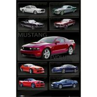 "FORD MUSTANG MULTI-IMAGE POSTER - EVOLUTION OF MUSTANG - 91 x 61 cm 36"" x 24"""