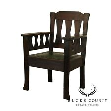 Antique Mission Oak Arts and Crafts Period Armchair