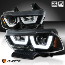 [Jet Black] 2011-2014 Dodge Charger Dual LED DRL Tube Projector Headlights