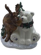 "Vintage Bico Christmas Cookie Jar Moose and Bear 10"" tall x 11"" x 9"""""