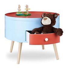 Relaxdays 10021871 Tavolino con cassetto comodino colorato per cameretta dei Bam