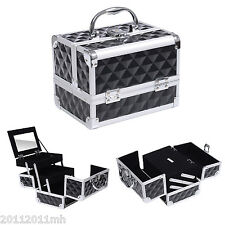 "HOMCOM 8"" Pro Makeup Train Case Jewelry Storage Box Aluminum Cosmetic Organizer"