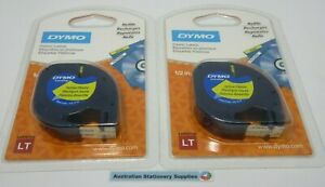 2 x Genuine Dymo YELLOW Tape Letratag Label Plastic in stock sent tracked