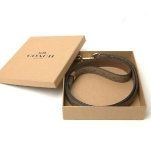 NWT COACH Large Pet Leash Signature Crossgrain Leather Khaki Saddle Gold F26906
