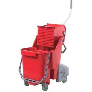 UNGER Restroom Combo 30L Dual Bucket with Press - Red