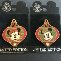 WDW Mickey Mouse Holiday Ornament Surprise Release & Minnie 2 Disney Pins 43307