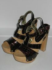 =QUIRKY= G.J.L. Maroon Croc Leather Chunky High Dress Heels Platform Shoes US5