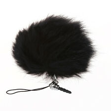 Black Rabbit Fur Ball Phone Cellphone String Charm Strap Anti Dust Plug 80mm DT