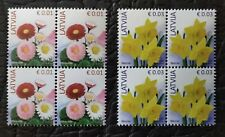 Latvia Lettland 2020 Definitives - Flowers Reprint 3 different stamps MNH BLOCK