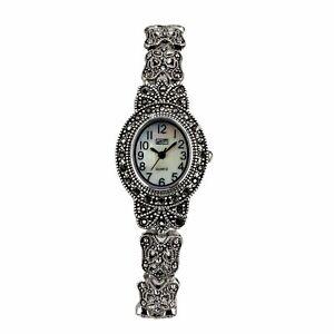 Eton Ladies Vintage Marcasite Watch, Astd Case, MOP Dial, Antique Finish - 3182L