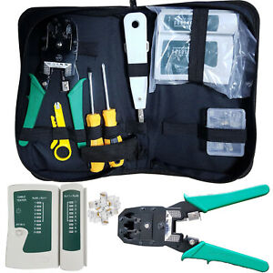 RJ45 Ethernet Network Cat5e Cat6 Cable Tester Crimping Tool 10x Connectors Kit