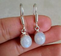 NATURAL OVAL RAINBOW MOONSTONE 925 STERLING SILVER DANGLE HOOK EARRINGS 1.25""
