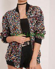 Sequin Casual Loose Jacket Ladies Outwear Long Sleeve Pilot Coat Colorful Vogue