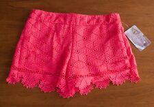 NWT LOVE FIRE NORDSTROM Juniors Sz M Coral Pink Crochet Lace Scallop Hem Shorts