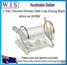 2 Tier Dish Rack with Removable Tray,,Plate Bowl Organiser Shelf,Chromed-93356