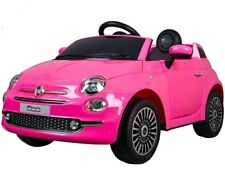Auto Elettrica FIAT 500 ROSA 12V Per Bambini con Telecomando e Sedile in Pelle