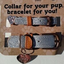 Silver Glitter Dog Collar & Matching Friendship Bracelet w Charm Set XS/S or M/L