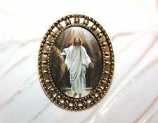 # 1- Jesus Christ Is Risen Antique Gold Catholic Resurrection Easter Pin Brooch