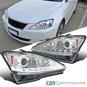 Fit 06-09 Lexus IS250 IS350 Clear SMD LED Strip Projector Headlights+LED Signal