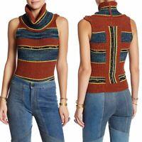 Free People Womens Top Carly Rib Turtleneck Sweater Tank Stripe Size S