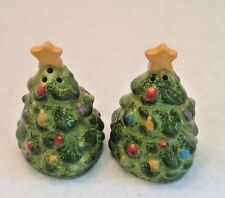 Christmas Tree Holiday Salt Pepper Shakers Ceramic Hand Painted