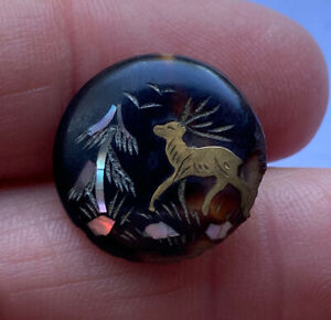 Antique Vintage Carved Horn Inlay Button Inlaid Gold Deer With Horns Mop Tree