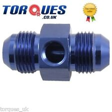 "AN -4 (AN4) Male - Male Union+ 1/8"" NPT Side Port Blue"
