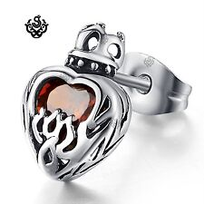 Silver stud ruby red crystal stainless steel crown heart SINGLE earring