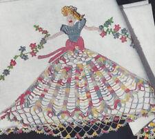 Vintage Crochet Pattern Crinoline Lady Applique Edging