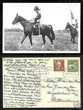 Gustaf V King Sweden rppc Uniform Horse 2 stamps 1938 maximum card