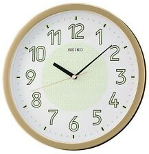 New Seiko Lumibrite Silent Quiet Sweep Wall Clock Bedroom Office Gold Gift Glow