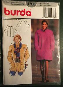 Sewing Pattern: MISSES' JACKET, raglan sleeves, funnel neck, Burda, new, 4706