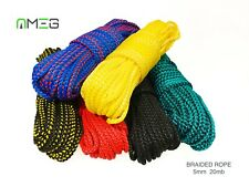 "5mm  Braided Polypropylene Plaited Poly Rope Cord Yacht Boat Sailing ""20 M"""
