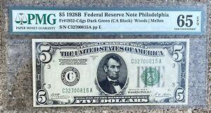 1928B Five Dollar PMG 65 MINT Federal Reserve Note Philadelphia Dark Green Seal