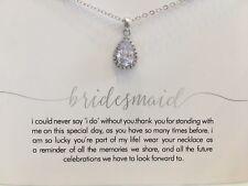 Bridesmaid Women Gift Clear Zircon Necklace Wedding Bridal FREE CARD Jewellery